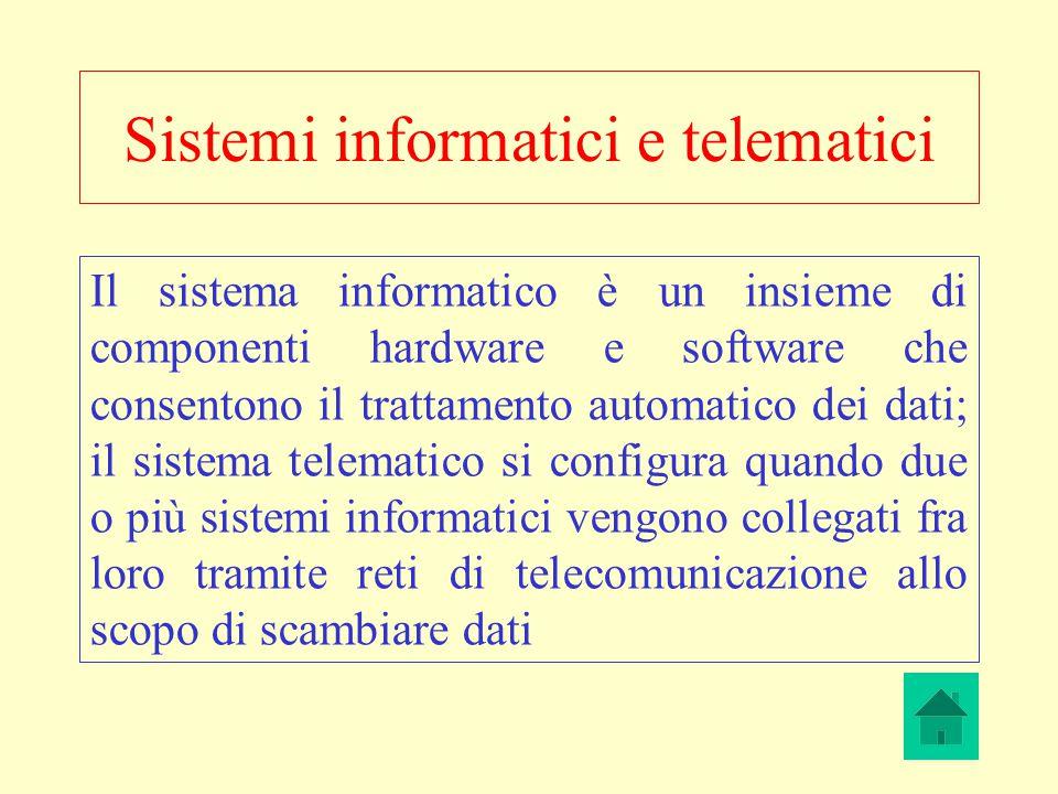 Sistemi informatici e telematici Il sistema informatico è un insieme di componenti hardware e software che consentono il trattamento automatico dei da