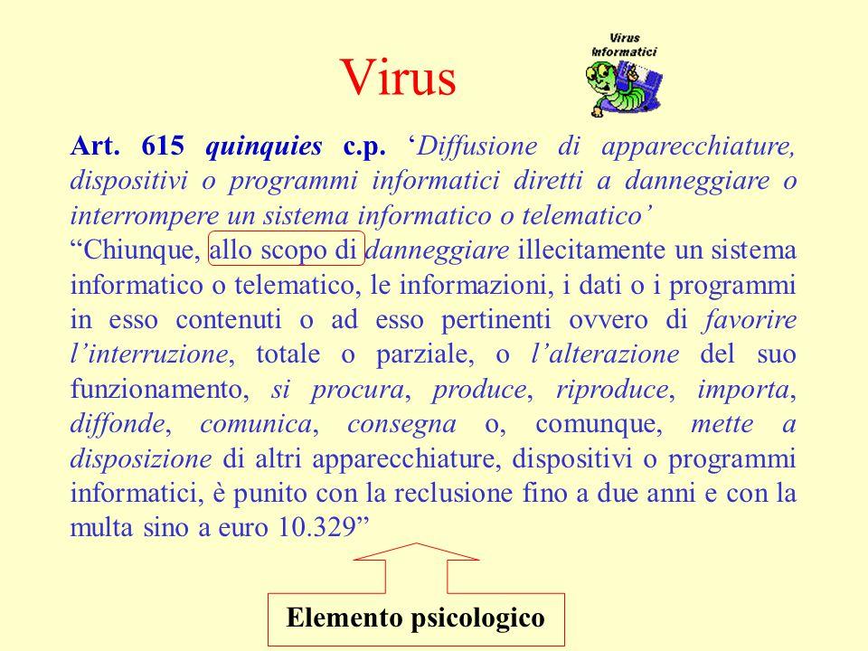 Virus Art. 615 quinquies c.p. 'Diffusione di apparecchiature, dispositivi o programmi informatici diretti a danneggiare o interrompere un sistema info