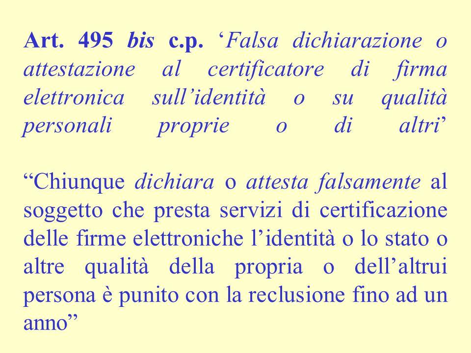 """Art. 495 bis c.p. 'Falsa dichiarazione o attestazione al certificatore di firma elettronica sull'identità o su qualità personali proprie o di altri' """""""