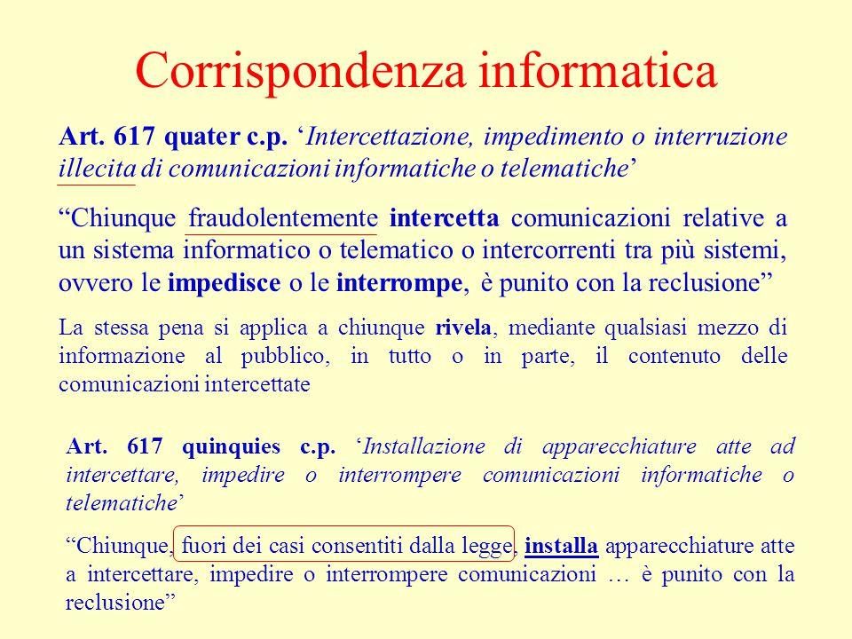 """Corrispondenza informatica Art. 617 quater c.p. 'Intercettazione, impedimento o interruzione illecita di comunicazioni informatiche o telematiche' """"Ch"""