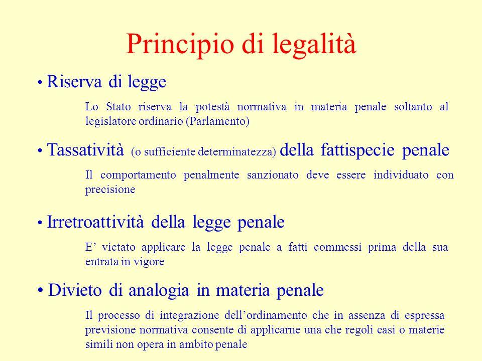 Principio di legalità Riserva di legge Lo Stato riserva la potestà normativa in materia penale soltanto al legislatore ordinario (Parlamento) Tassativ