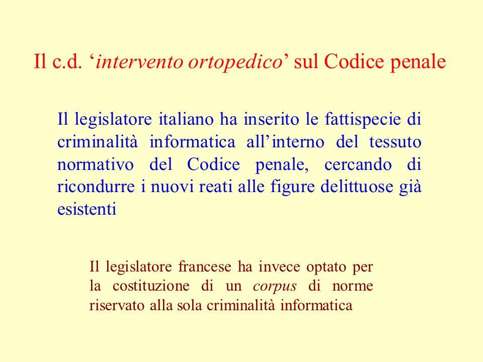 Il c.d. 'intervento ortopedico' sul Codice penale Il legislatore italiano ha inserito le fattispecie di criminalità informatica all'interno del tessut