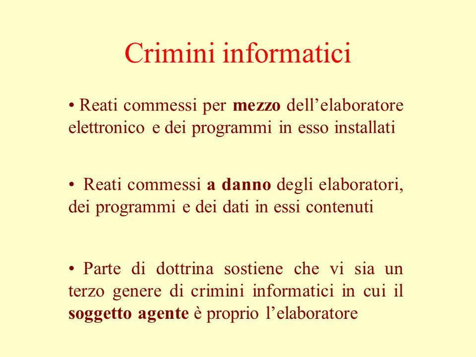 Crimini informatici Reati commessi per mezzo dell'elaboratore elettronico e dei programmi in esso installati Reati commessi a danno degli elaboratori,