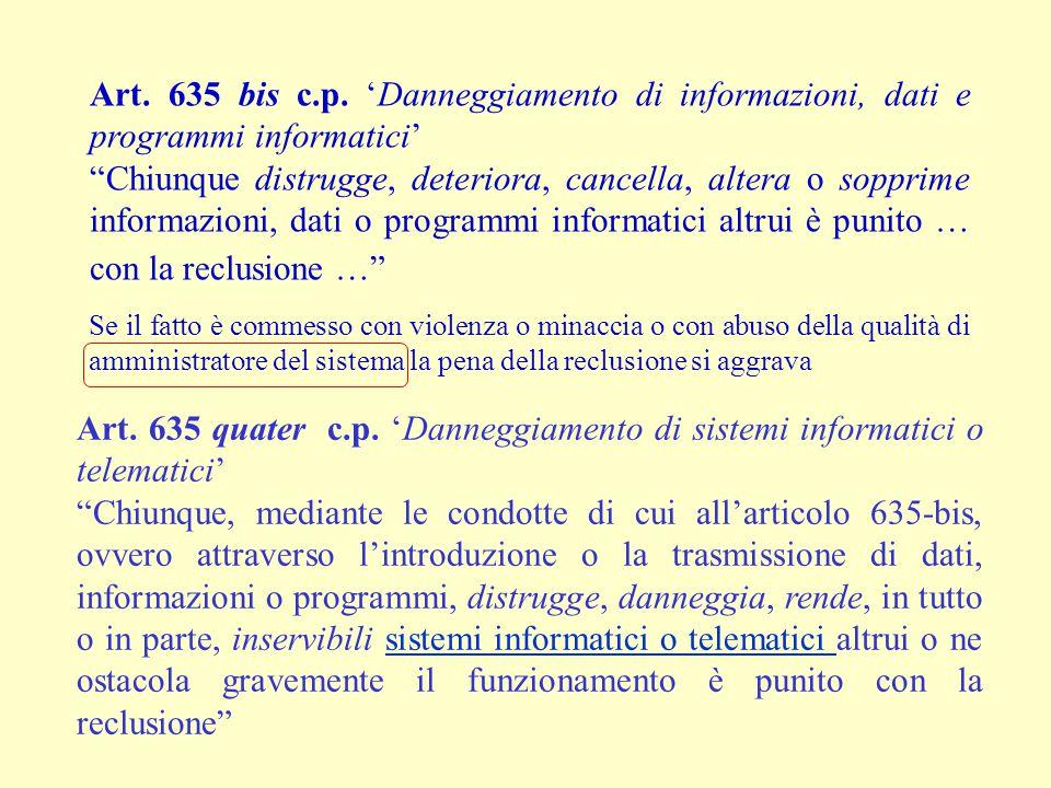 """Art. 635 bis c.p. 'Danneggiamento di informazioni, dati e programmi informatici' """"Chiunque distrugge, deteriora, cancella, altera o sopprime informazi"""