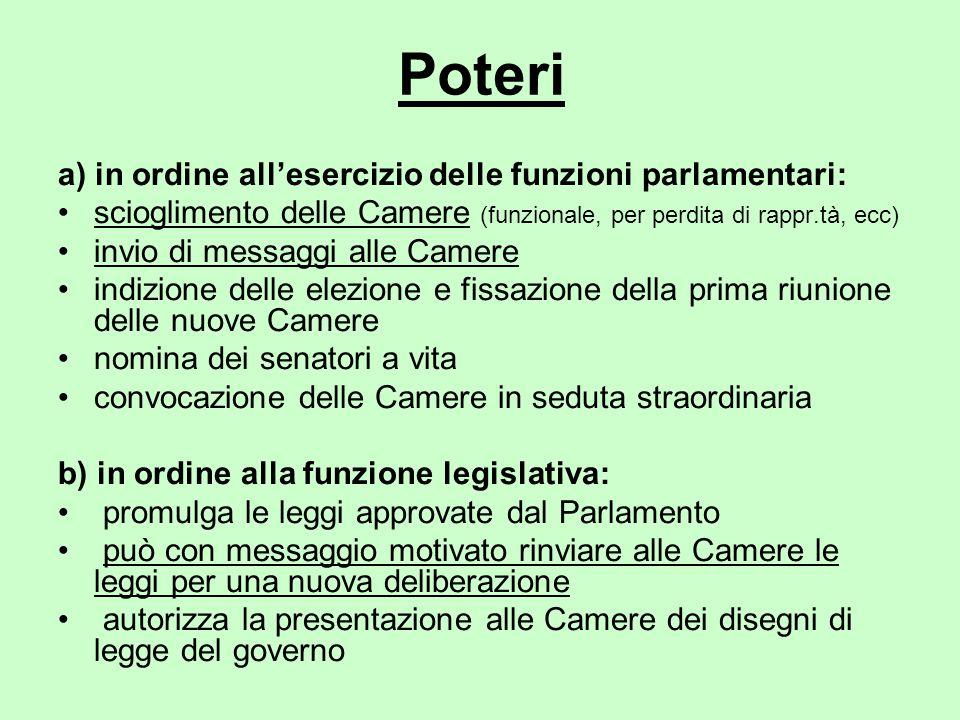 Poteri a) in ordine all'esercizio delle funzioni parlamentari: scioglimento delle Camere (funzionale, per perdita di rappr.tà, ecc) invio di messaggi