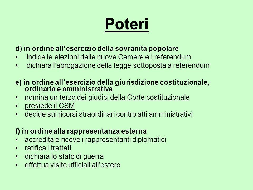 Poteri d) in ordine all'esercizio della sovranità popolare indice le elezioni delle nuove Camere e i referendum dichiara l'abrogazione della legge sot