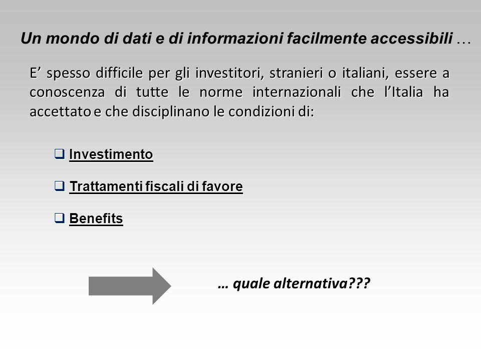 Un mondo di dati e di informazioni facilmente accessibili … E' spesso difficile per gli investitori, stranieri o italiani, essere a conoscenza di tutt