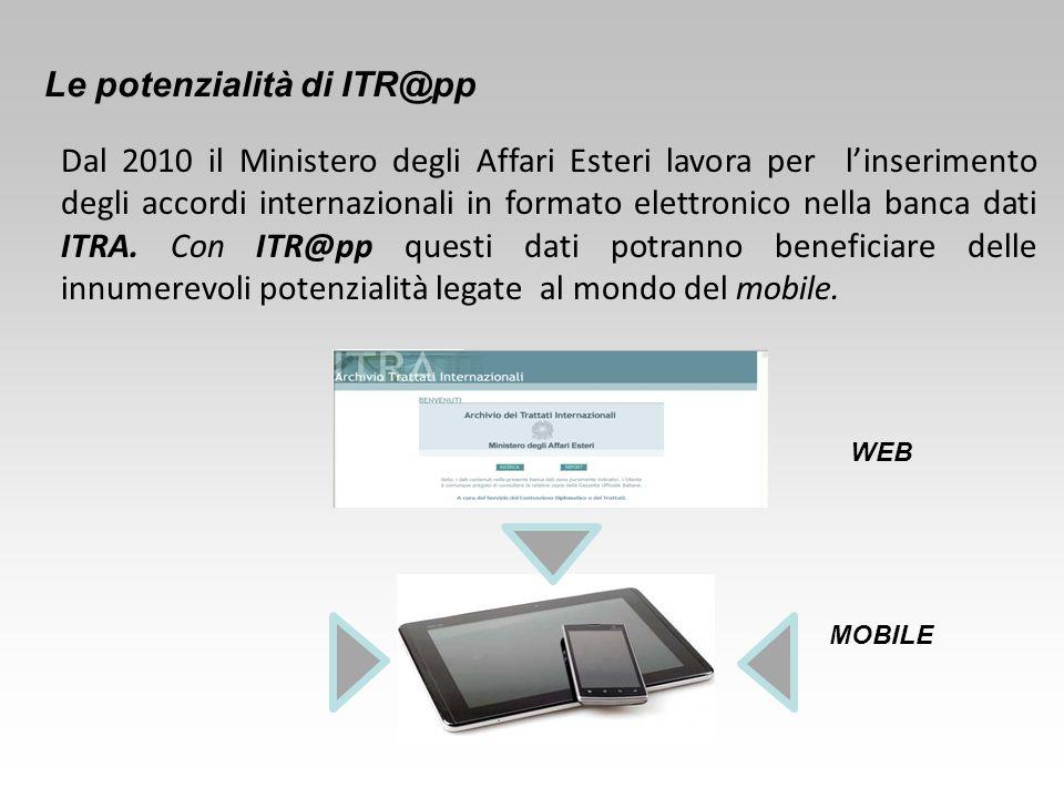 Dal 2010 il Ministero degli Affari Esteri lavora per l'inserimento degli accordi internazionali in formato elettronico nella banca dati ITRA. Con ITR@