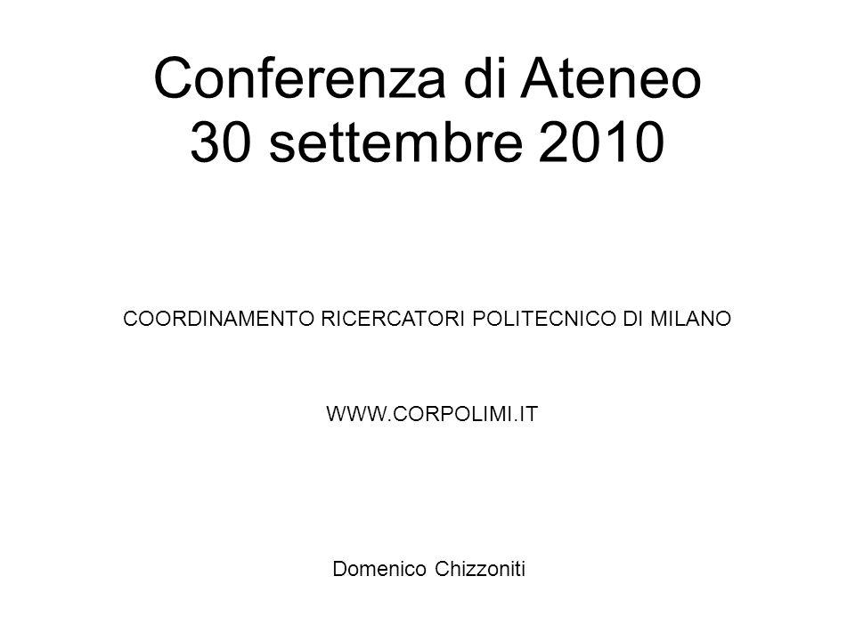 Conferenza di Ateneo 30 settembre 2010 COORDINAMENTO RICERCATORI POLITECNICO DI MILANO WWW.CORPOLIMI.IT Domenico Chizzoniti