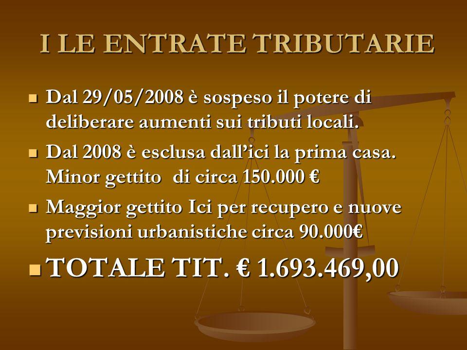 I LE ENTRATE TRIBUTARIE I LE ENTRATE TRIBUTARIE Dal 29/05/2008 è sospeso il potere di deliberare aumenti sui tributi locali.