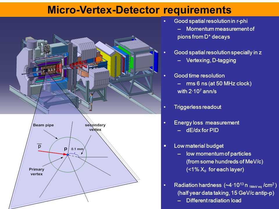 Micro-Vertex-Detector requirements Good spatial resolution in r-phi –Momentum measurement of pions from D* decays Good spatial resolution specially in z –Vertexing, D-tagging Good time resolution –rms 6 ns (at 50 MHz clock) with 2·10 7 ann/s Triggerless readout Energy loss measurement –dE/dx for PID  Low material budget –low momentum of particles (from some hundreds of MeV/c) (<1% X 0 for each layer) Radiation hardness (~4·10 13 n 1MeV eq /cm 2 ) (half year data taking, 15 GeV/c antip-p) –Different radiation load