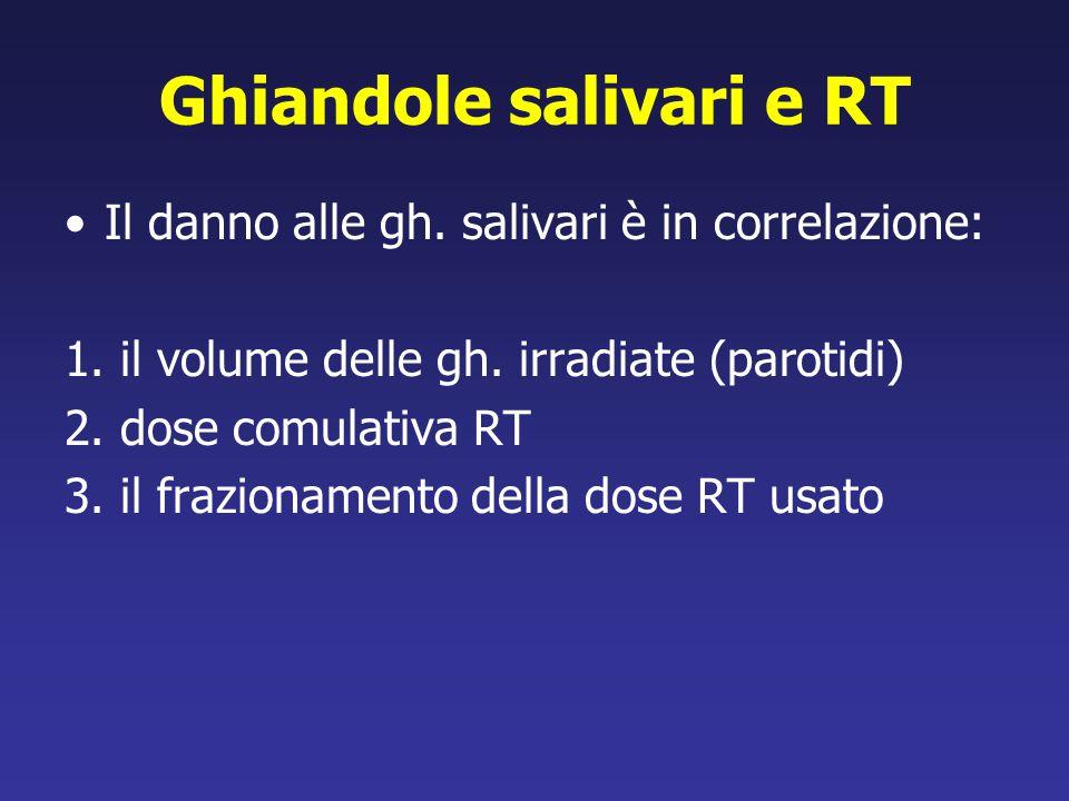 Ghiandole salivari e RT Il danno alle gh. salivari è in correlazione: 1. il volume delle gh. irradiate (parotidi) 2. dose comulativa RT 3. il fraziona