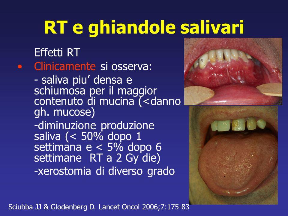 RT e ghiandole salivari Effetti RT Clinicamente si osserva: - saliva piu' densa e schiumosa per il maggior contenuto di mucina (<danno gh. mucose) -di