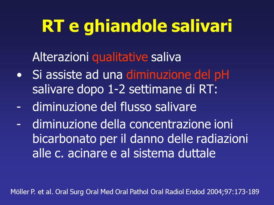 RT e ghiandole salivari Alterazioni qualitative saliva Si assiste ad una diminuzione del pH salivare dopo 1-2 settimane di RT: -diminuzione del flusso