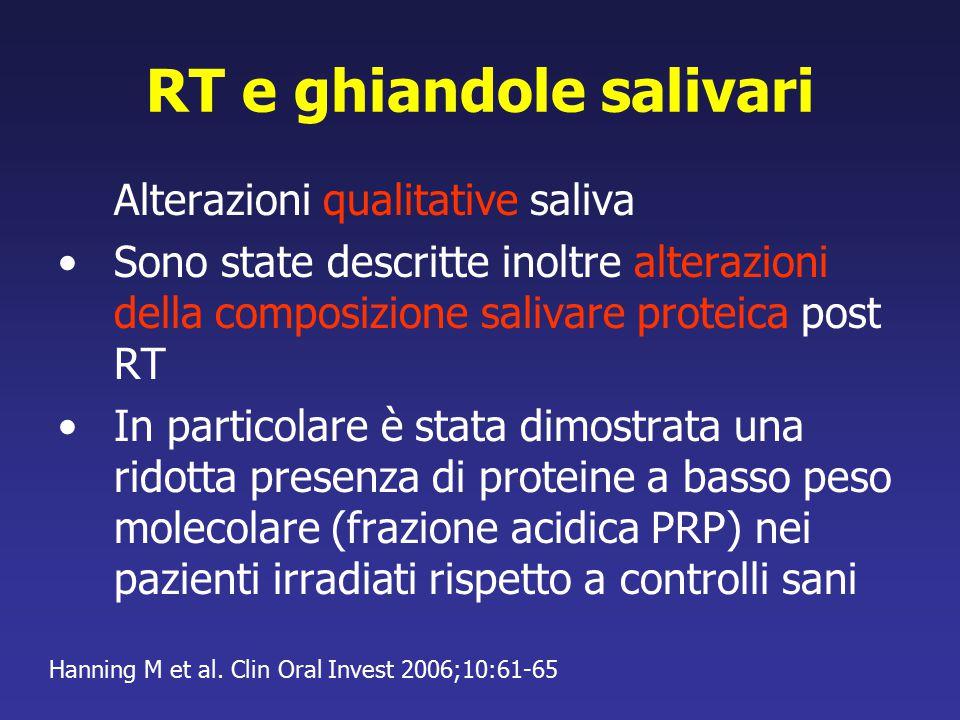 RT e ghiandole salivari Alterazioni qualitative saliva Sono state descritte inoltre alterazioni della composizione salivare proteica post RT In partic