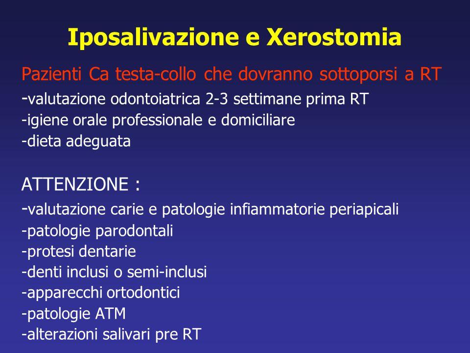 Iposalivazione e Xerostomia Pazienti Ca testa-collo che dovranno sottoporsi a RT - valutazione odontoiatrica 2-3 settimane prima RT -igiene orale prof