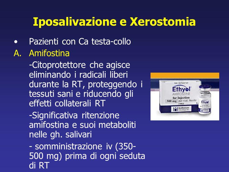 Iposalivazione e Xerostomia Pazienti con Ca testa-collo A.Amifostina -Citoprotettore che agisce eliminando i radicali liberi durante la RT, proteggend