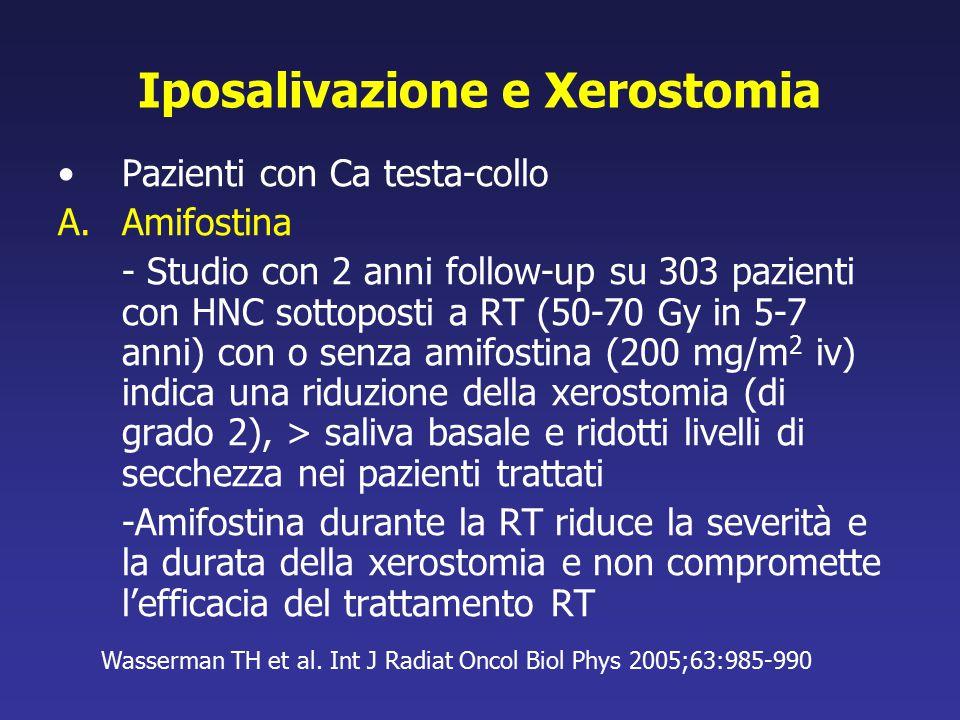 Iposalivazione e Xerostomia Pazienti con Ca testa-collo A.Amifostina - Studio con 2 anni follow-up su 303 pazienti con HNC sottoposti a RT (50-70 Gy i