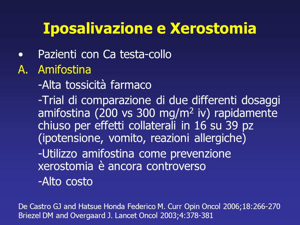 Iposalivazione e Xerostomia Pazienti con Ca testa-collo A.Amifostina -Alta tossicità farmaco -Trial di comparazione di due differenti dosaggi amifosti
