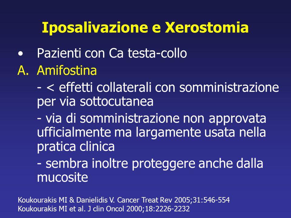Iposalivazione e Xerostomia Pazienti con Ca testa-collo A.Amifostina - < effetti collaterali con somministrazione per via sottocutanea - via di sommin