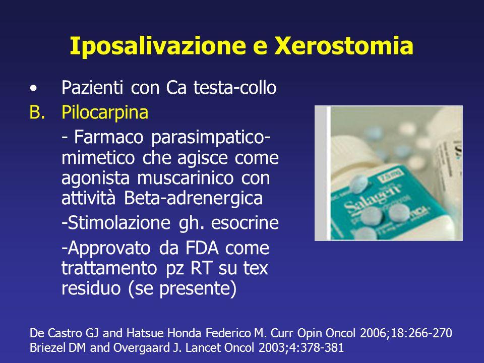 Iposalivazione e Xerostomia Pazienti con Ca testa-collo B.Pilocarpina - Farmaco parasimpatico- mimetico che agisce come agonista muscarinico con attiv