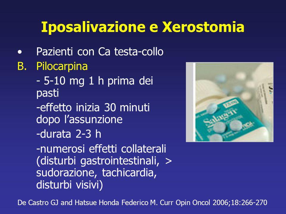 Iposalivazione e Xerostomia Pazienti con Ca testa-collo B.Pilocarpina - 5-10 mg 1 h prima dei pasti -effetto inizia 30 minuti dopo l'assunzione -durat