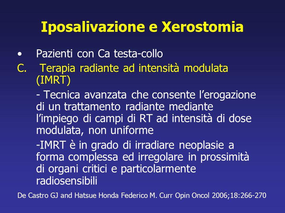 Iposalivazione e Xerostomia Pazienti con Ca testa-collo C. Terapia radiante ad intensità modulata (IMRT) - Tecnica avanzata che consente l'erogazione