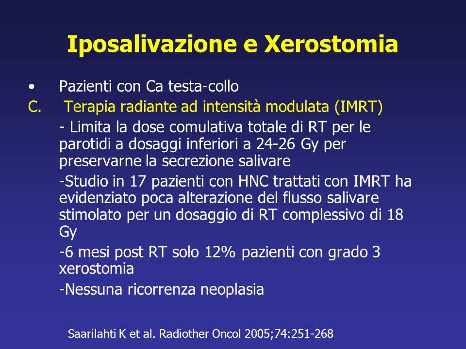 Iposalivazione e Xerostomia Pazienti con Ca testa-collo C. Terapia radiante ad intensità modulata (IMRT) - Limita la dose comulativa totale di RT per