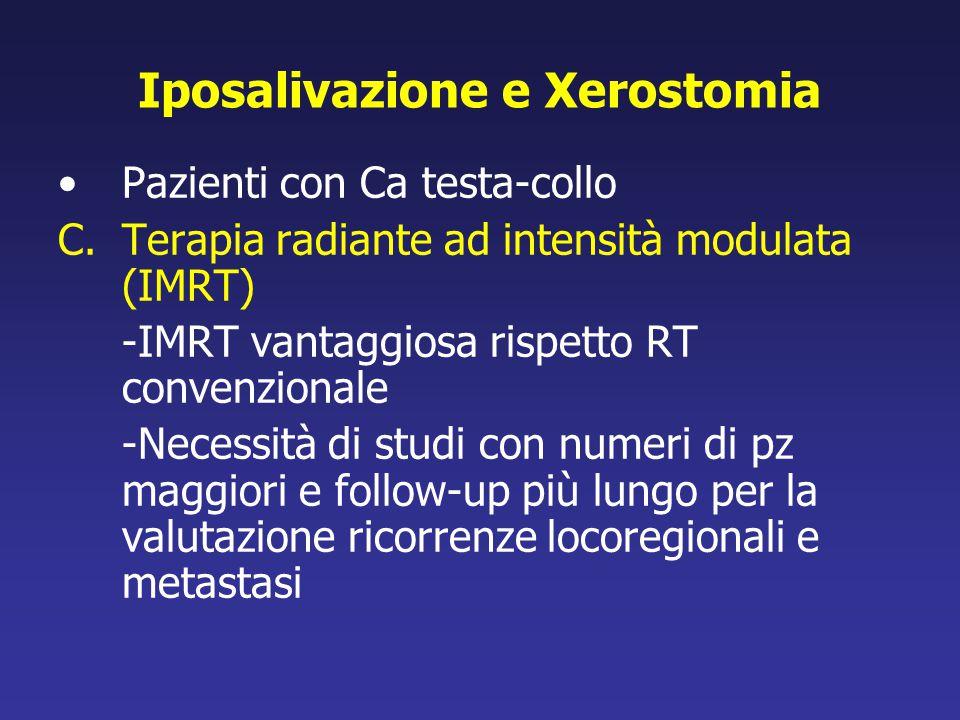 Iposalivazione e Xerostomia Pazienti con Ca testa-collo C.Terapia radiante ad intensità modulata (IMRT) -IMRT vantaggiosa rispetto RT convenzionale -N