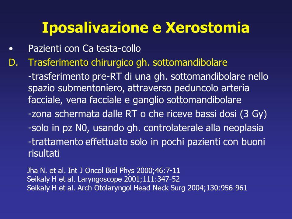 Iposalivazione e Xerostomia Pazienti con Ca testa-collo D.Trasferimento chirurgico gh. sottomandibolare -trasferimento pre-RT di una gh. sottomandibol