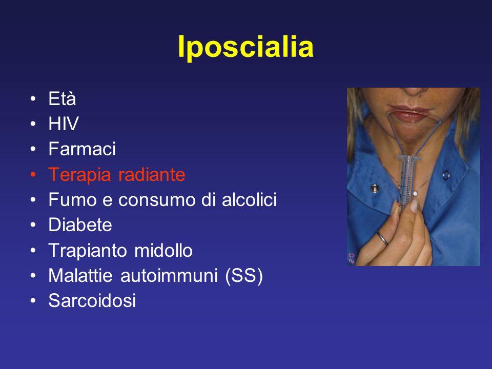 Iposcialia Età HIV Farmaci Terapia radiante Fumo e consumo di alcolici Diabete Trapianto midollo Malattie autoimmuni (SS) Sarcoidosi