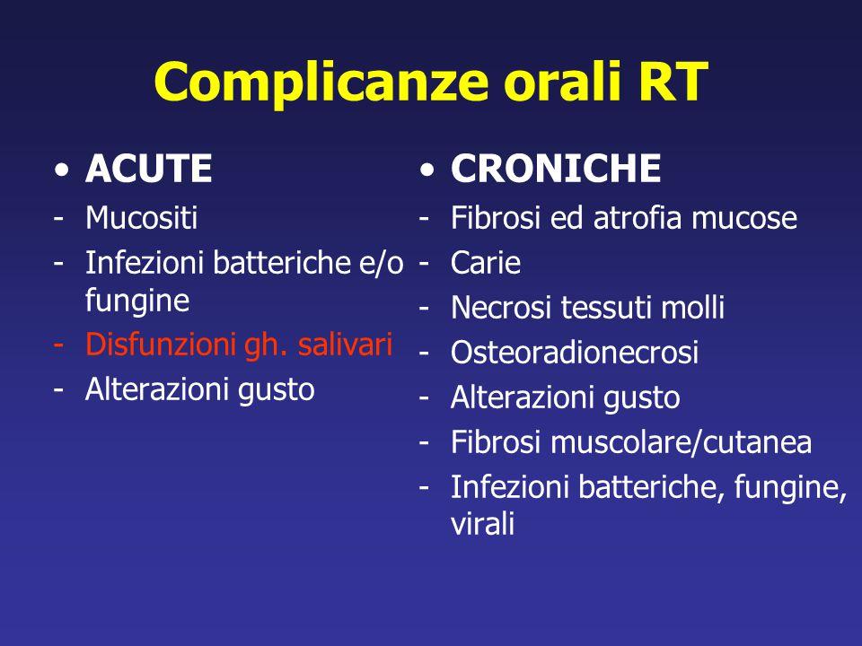 Complicanze orali RT ACUTE -Mucositi -Infezioni batteriche e/o fungine -Disfunzioni gh. salivari -Alterazioni gusto CRONICHE -Fibrosi ed atrofia mucos