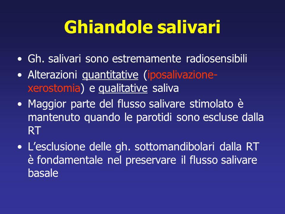 Ghiandole salivari Gh. salivari sono estremamente radiosensibili Alterazioni quantitative (iposalivazione- xerostomia) e qualitative saliva Maggior pa