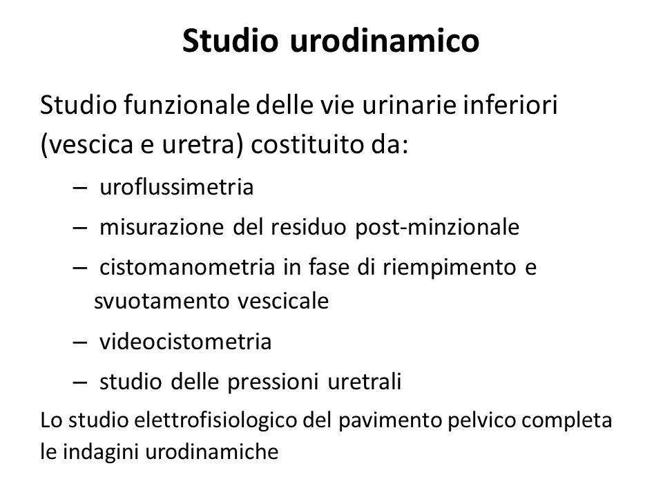 Studio urodinamico Studio funzionale delle vie urinarie inferiori (vescica e uretra) costituito da: – uroflussimetria – misurazione del residuo post-m