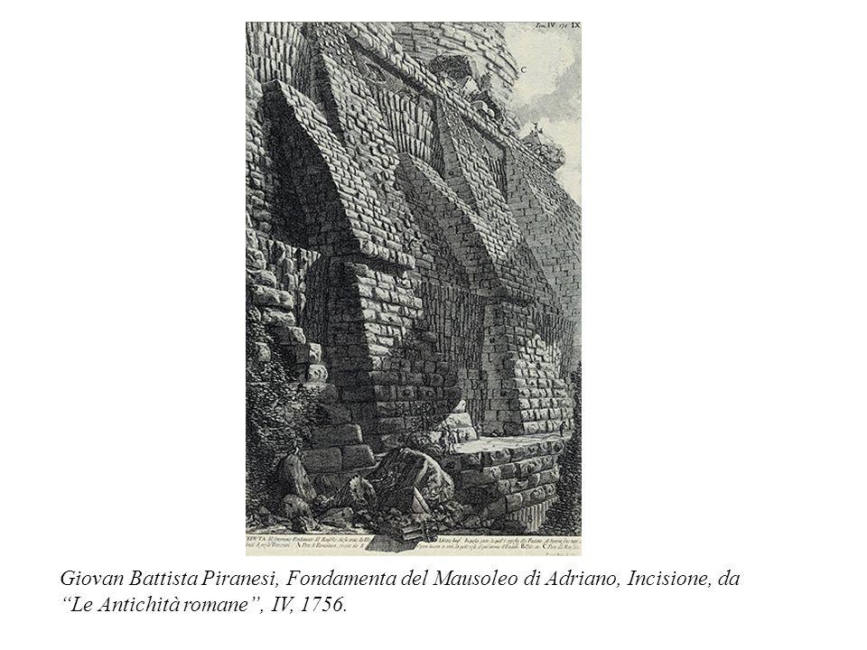 """Giovan Battista Piranesi, Fondamenta del Mausoleo di Adriano, Incisione, da """"Le Antichità romane"""", IV, 1756."""