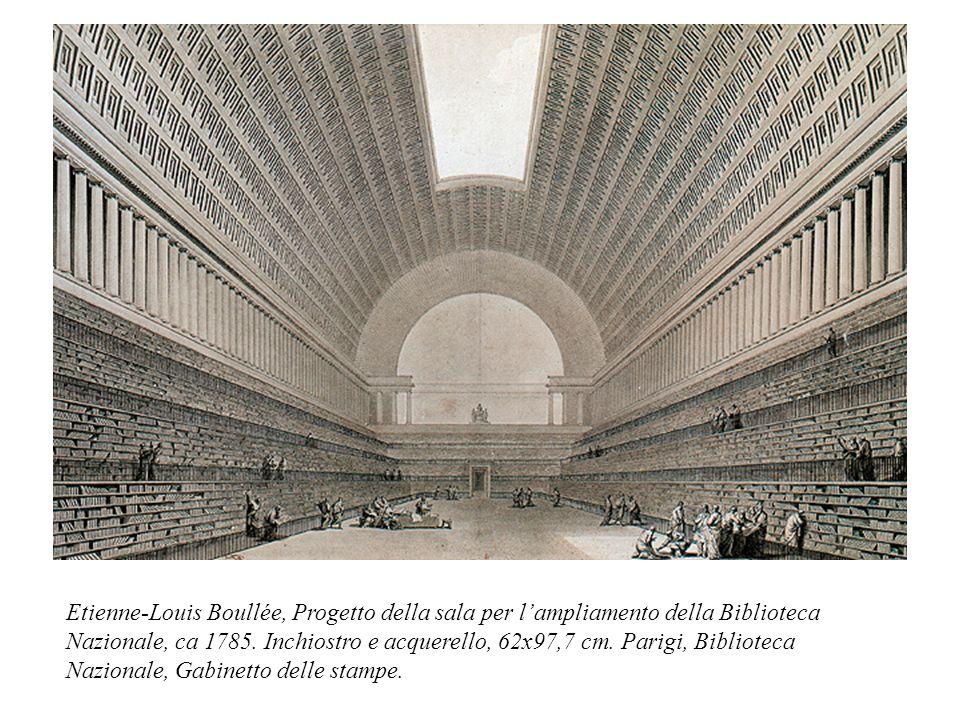 Etienne-Louis Boullée, Progetto della sala per l'ampliamento della Biblioteca Nazionale, ca 1785. Inchiostro e acquerello, 62x97,7 cm. Parigi, Bibliot