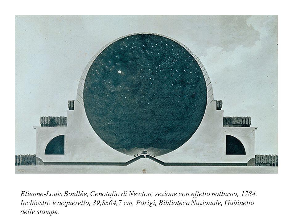 Etienne-Louis Boullée, Cenotafio di Newton, sezione con effetto notturno, 1784. Inchiostro e acquerello, 39,8x64,7 cm. Parigi, Biblioteca Nazionale, G