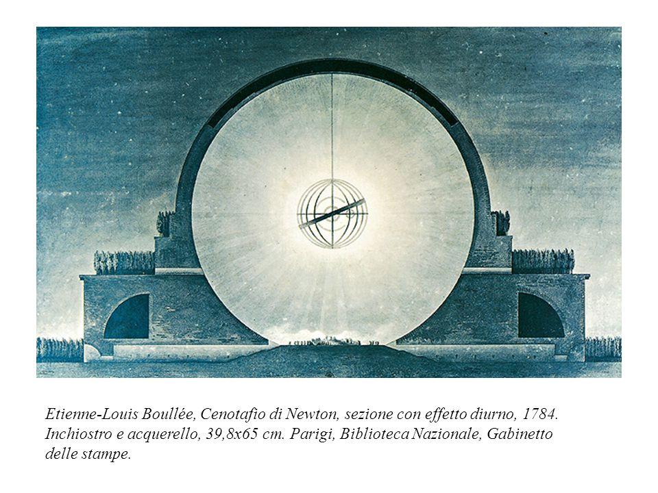 Etienne-Louis Boullée, Cenotafio di Newton, sezione con effetto diurno, 1784. Inchiostro e acquerello, 39,8x65 cm. Parigi, Biblioteca Nazionale, Gabin