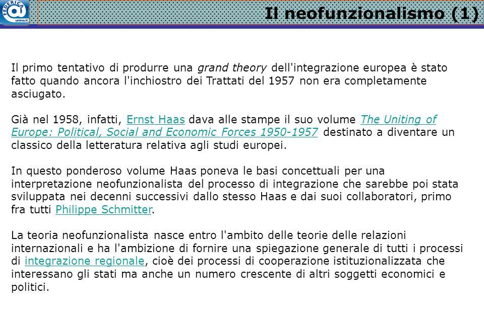 Il neofunzionalismo (1) Il primo tentativo di produrre una grand theory dell'integrazione europea è stato fatto quando ancora l'inchiostro dei Trattat