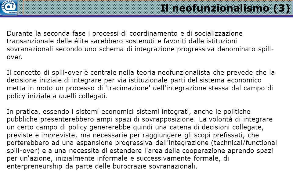 Il neofunzionalismo (3) Durante la seconda fase i processi di coordinamento e di socializzazione transanzionale delle élite sarebbero sostenuti e favo