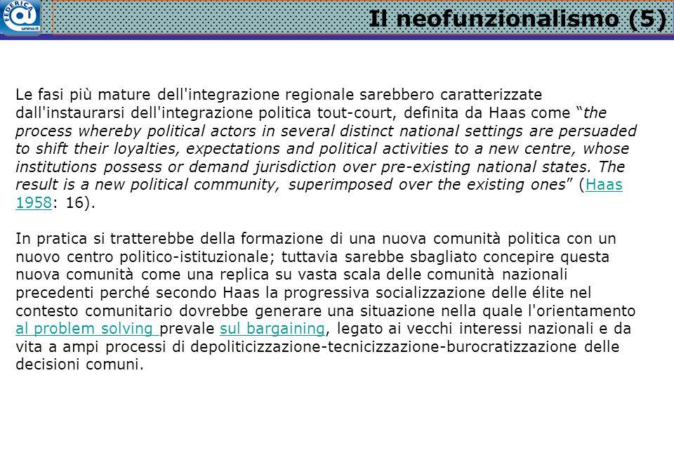 Il neofunzionalismo (5) Le fasi più mature dell'integrazione regionale sarebbero caratterizzate dall'instaurarsi dell'integrazione politica tout-court