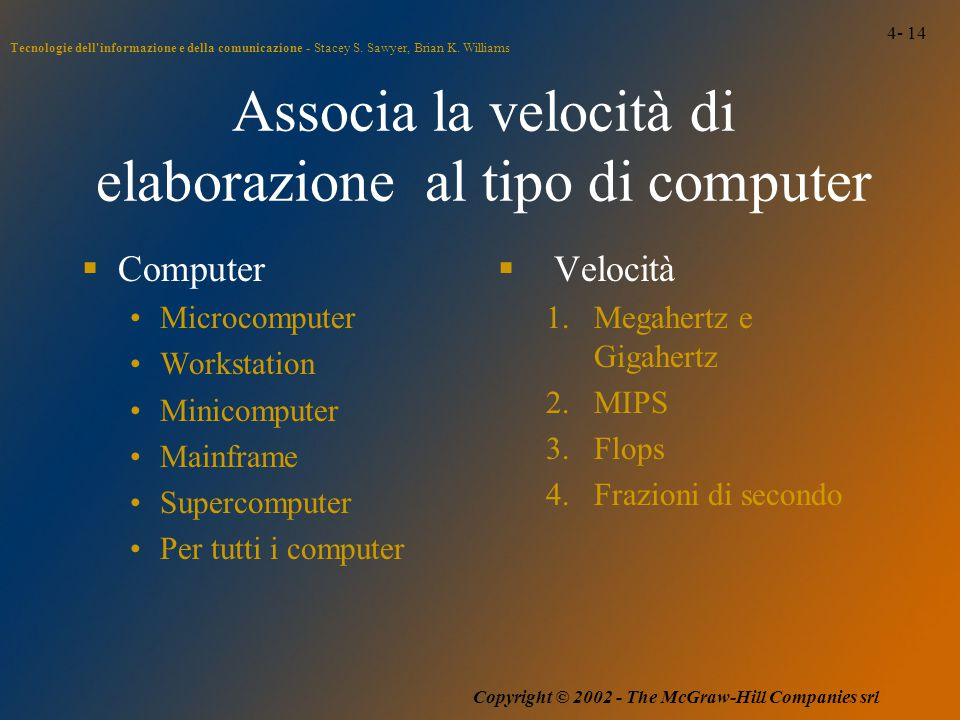 4- 14 Tecnologie dell'informazione e della comunicazione - Stacey S. Sawyer, Brian K. Williams Copyright © 2002 - The McGraw-Hill Companies srl Associ