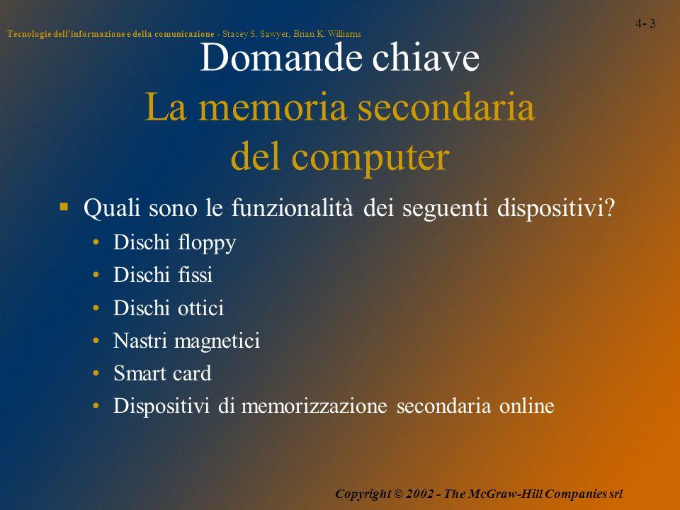 4- 3 Tecnologie dell'informazione e della comunicazione - Stacey S. Sawyer, Brian K. Williams Copyright © 2002 - The McGraw-Hill Companies srl Domande