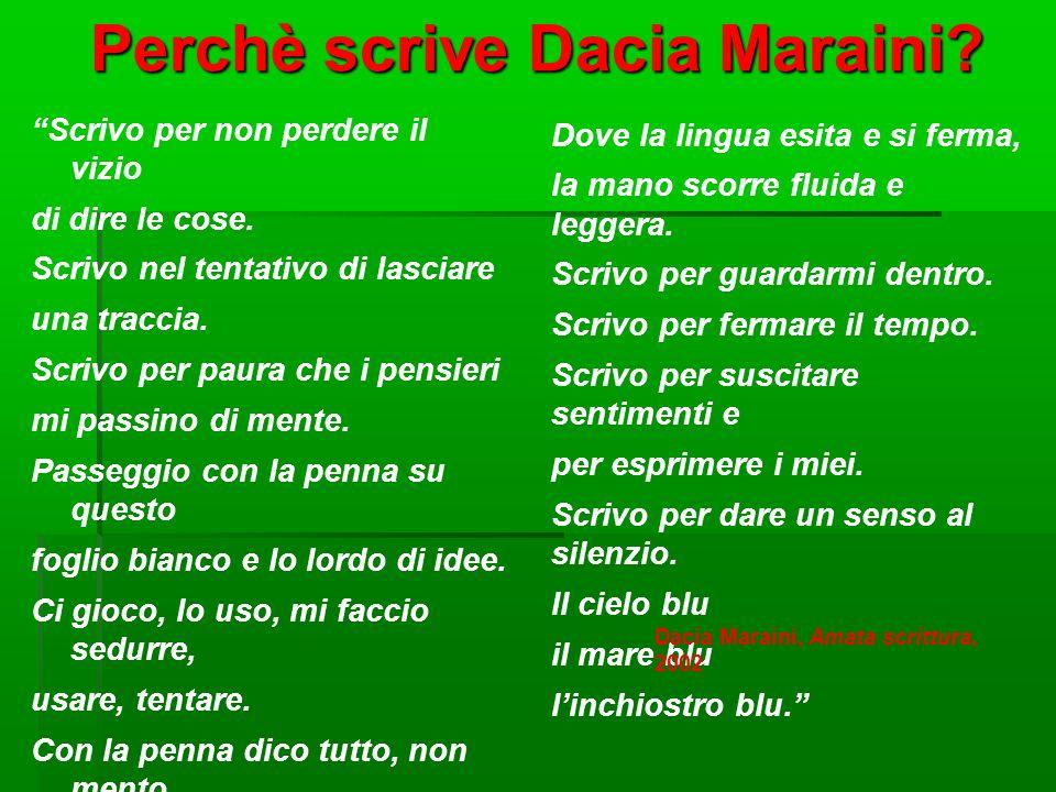 """Perchè scrive Dacia Maraini? """"Scrivo per non perdere il vizio di dire le cose. Scrivo nel tentativo di lasciare una traccia. Scrivo per paura che i pe"""