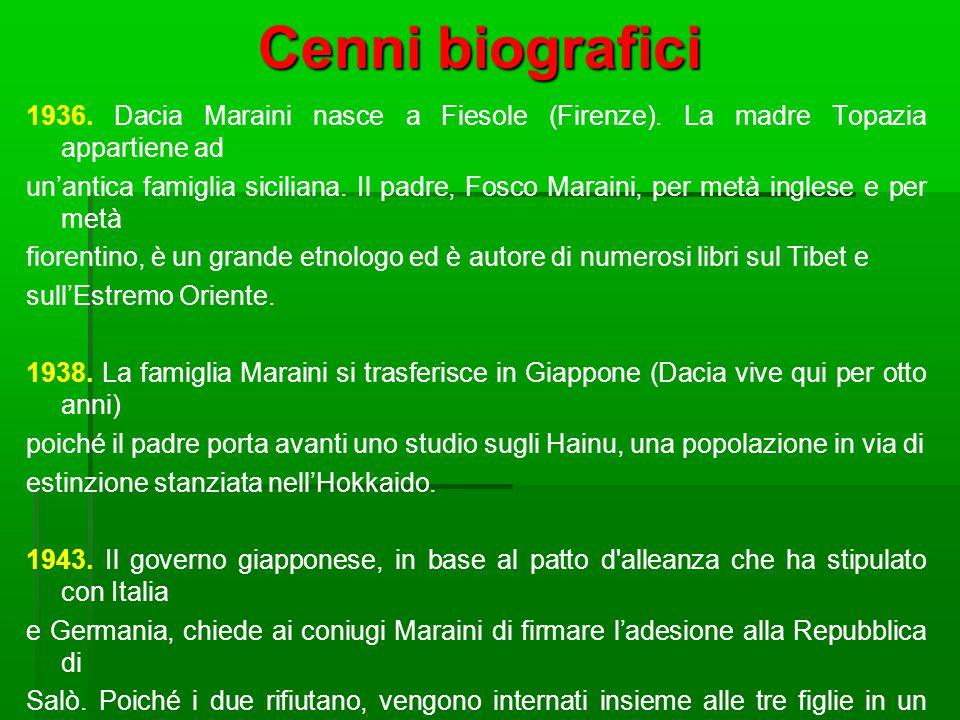 Cenni biografici 1936. Dacia Maraini nasce a Fiesole (Firenze). La madre Topazia appartiene ad un'antica famiglia siciliana. Il padre, Fosco Maraini,
