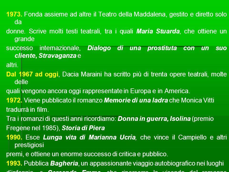 1973. Fonda assieme ad altre il Teatro della Maddalena, gestito e diretto solo da donne.