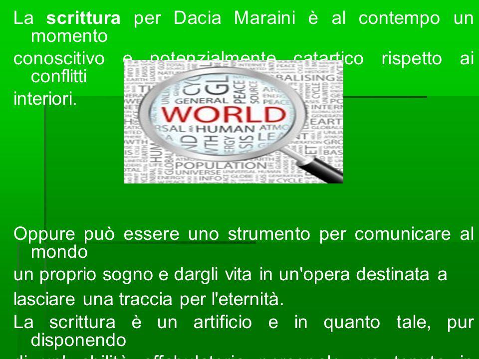 La scrittura per Dacia Maraini è al contempo un momento conoscitivo e potenzialmente catartico rispetto ai conflitti interiori. Oppure può essere uno