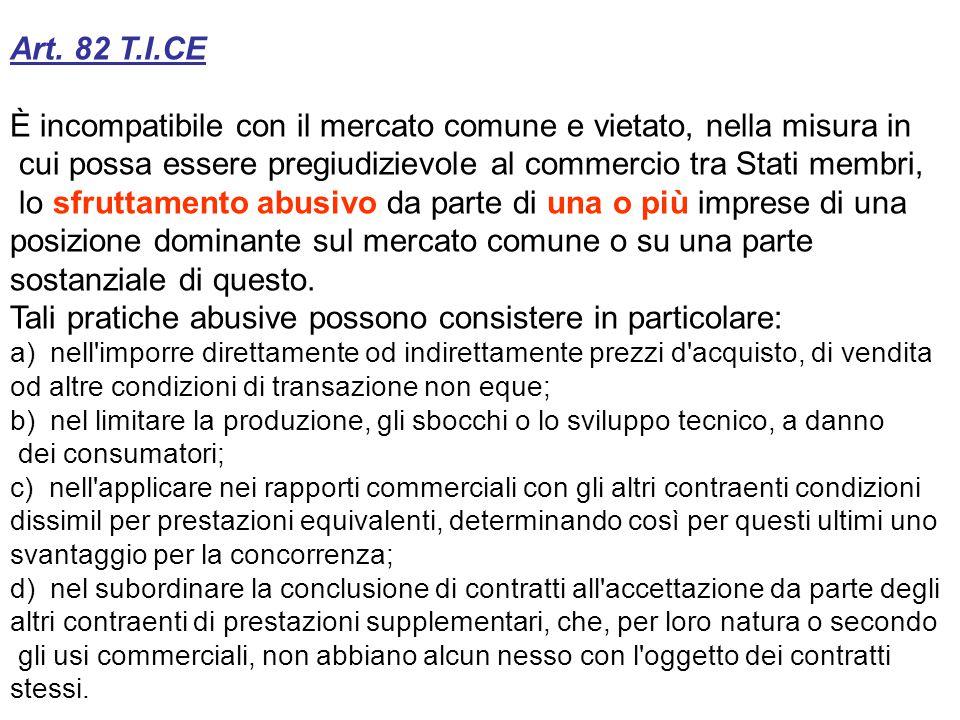 Art. 82 T.I.CE È incompatibile con il mercato comune e vietato, nella misura in cui possa essere pregiudizievole al commercio tra Stati membri, lo sfr