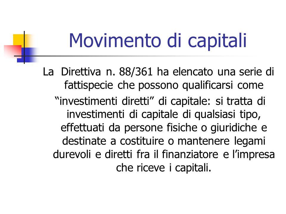 """Movimento di capitali La Direttiva n. 88/361 ha elencato una serie di fattispecie che possono qualificarsi come """"investimenti diretti"""" di capitale: si"""