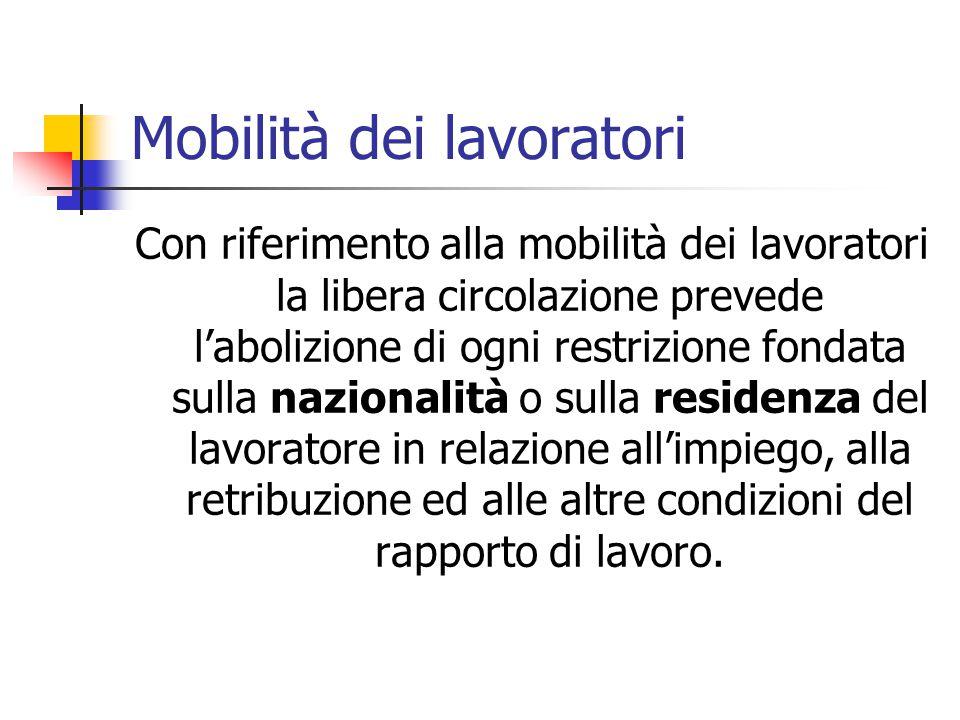 Mobilità dei lavoratori Con riferimento alla mobilità dei lavoratori la libera circolazione prevede l'abolizione di ogni restrizione fondata sulla naz